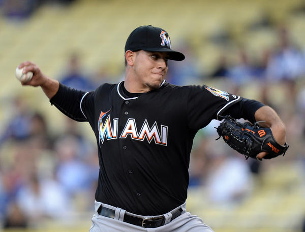 Miami Marlins starting pitcher Jose Fernandez (16) will learn on Monday if he is the National League Rookie of the Year.