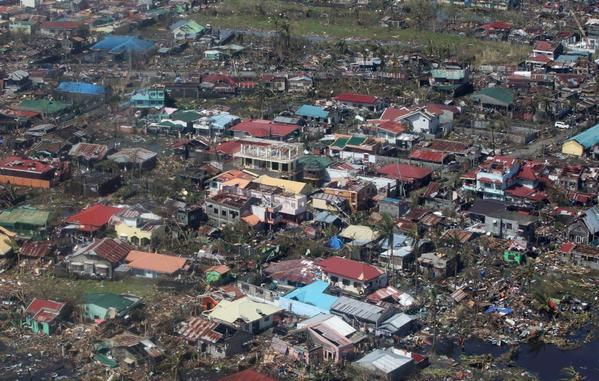 An aerial view of buildings destroyed by typhoon Haiyan in the Philippines' Leyte province.