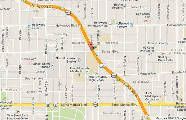 The red pointer shows the approximate location where a man was shot dead near the Hollywood Palladium.
