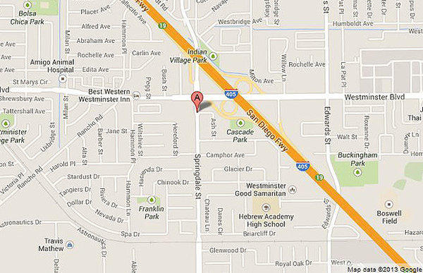 Map shows approximate location of where a car was found overturned in Westminster.