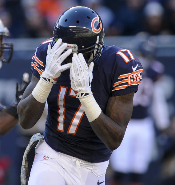 Bears wide receiver Alshon Jeffery reacts after dropping a pass in the end zone against Detroit on Sunday at Soldier Field.