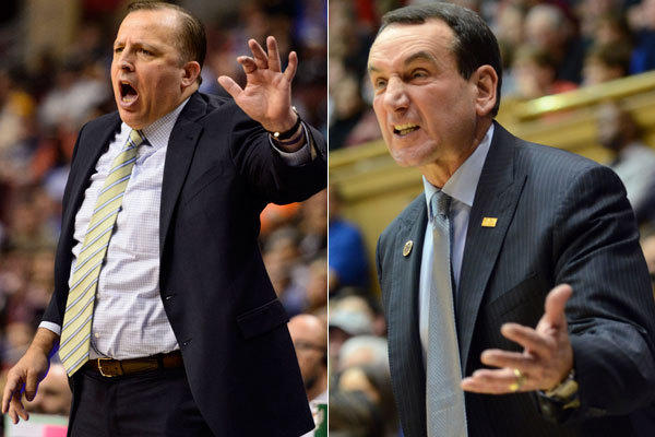 Bulls coach Tom Thibodeau and Duke coach Mike Krzyzewski.