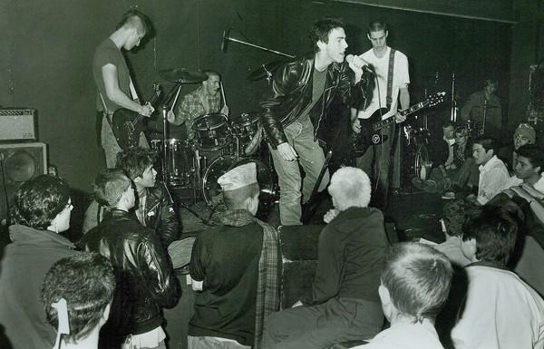 Brett Gurewitz, left, Jay Ziskrout, Greg Graffin and Jay Bentley perform at an East L.A club in 1981.