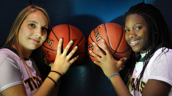 Bernadette Devaney, left, and Trellanie English-Lurry want to lead the Nova girls basketball team back to the state tournament.