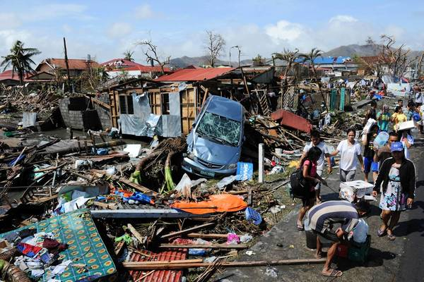 The Philippine city of Tacloban is left in ruins by Typhoon Haiyan.