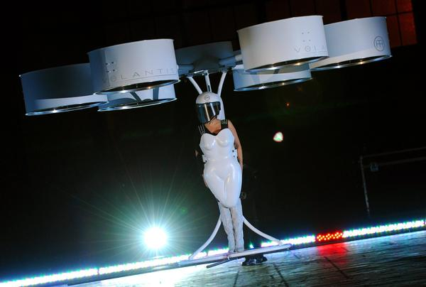 Lady Gaga, flies briefly in 'Volantis' a prototype flying dress designed to carry one person.