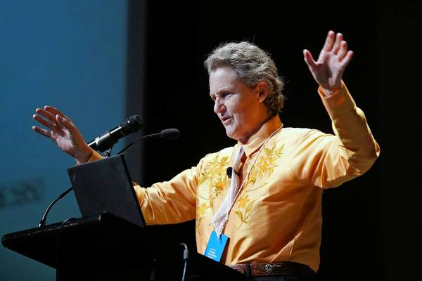 Temple Grandin speaks at the Chicago Humanities Festival at the UIC Forum in Chicago.