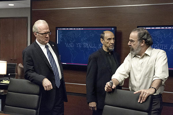 Tracy Letts as Senator Lockhart, F. Murray Abraham as Dar Adal and Mandy Patinkin as Saul Berenson in 'Homeland.'