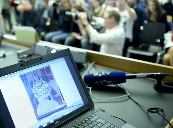 A painting believed to be by Henri Matisse can be seen on a computer screen during a news conference on Nov. 5 in Augsburg, Germany. The piece was recovered from the apartment of art dealer Cornelius Gurlitt, son of a well-known Nazi art dealer.