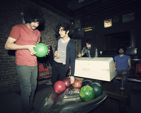 "Members of the Iranian post-punk rock group Yellow Dogs in a promotional photo. Sourosh Farazmand, left, and Arash Farazmand, far right, were among those killed at an apartment in Brooklyn, N.Y., early Monday morning. Also in the band are Koory Mirzeai, center left, and Siavash ""Obash"" Karampour, center right."
