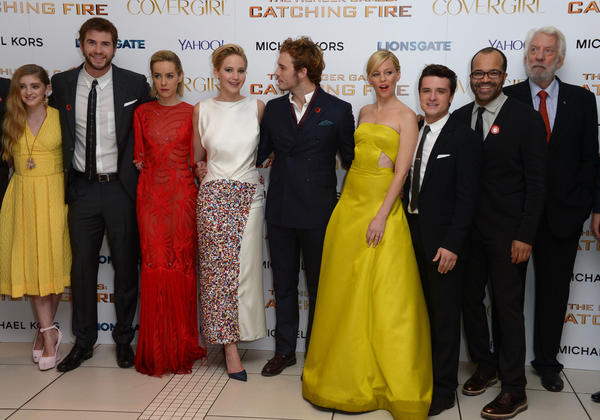 "From left to right, Willow Shield, Liam Hemsworth, Jena Malone, Jennifer Lawrence, Sam Claflin, Elizabeth Banks, Josh Hutcherson, Jeffrey Wright and Donald Sutherland at the world premiere of ""The Hunger Games: Catching Fire."""