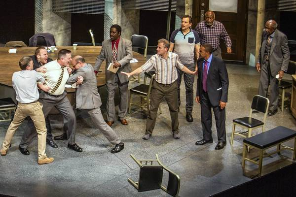 "Scott Lowell, left, Adam J. Smith, Gregory North, Robert Picardo, Clinton Derricks-Carroll, Barry Pearl, Bradford Tatum, Ellis E. Williams, Jason George and Adolphus Ward in ""12 Angry Men."""