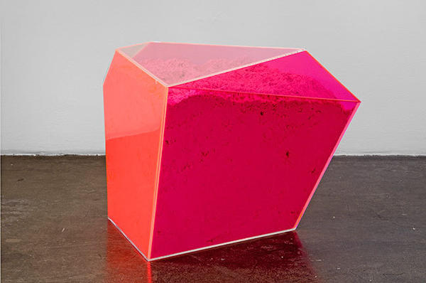 "Rachel Lachowicz's ""Particle Dispersion: Hex Triplet Pink,"" 2013, Plexiglas case with eyeshadow."