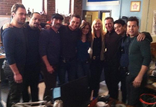 """Law & Order: SVU"" co-stars Ice-T (second to left) and Kelli Giddish (fourth to right) with the cast of ""Chicago PD."""