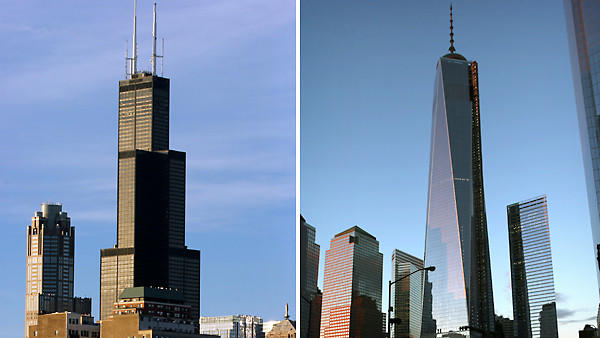 Chicago-based tall building council rules today on whether Willis Tower, left, or 1 World Trade Center, right, is nation's tallest building.