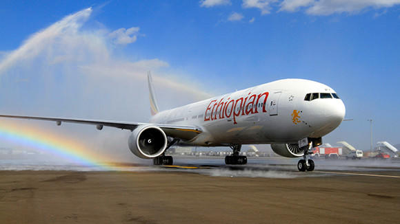 Ethiopia's newly acquired Boeing 777-300ER aircraft, with a seating capacity of 400 passengers, arrives at the Bole International Airport in Capital Addis Ababa on Nov. 8.