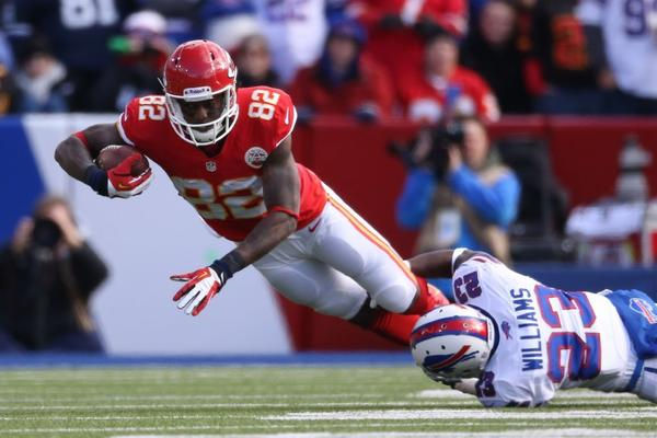 Dwayne Bowe is tackled during last week's game against Buffalo.