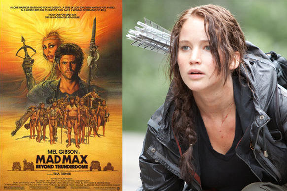 "Both ""Mad Max Beyond Thunderdome"" and ""The Hunger Games"" are set in a post-apocalyptic future and involve a competitive arena where only the victor survives."
