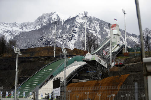 Construction takes place near the ski jumping hill of Krasnaya Polyana December 7, 2012, before the start of the Sochi Ski Jumping World Cup tournament. The Sochi Ski Jumping World Cup tournament will run from December 7 to 9. The hill will be a venue for the 2014 Olympic Winter Games, which will take place in two centres, the Coastal Cluster along the Black Sea shore in the Imeretinskaya Valley and the Mountain Cluster in Krasnaya Polyana.