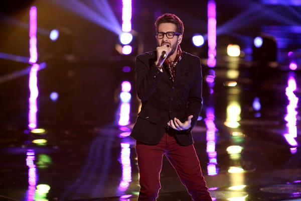 "Contestant Will Champlin sings on NBC's ""The Voice."""