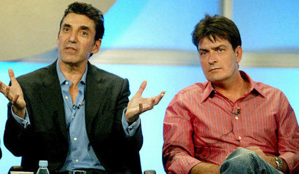 "Chuck Lorre, left, and Charlie Sheen are shown during their time working together on ""Two and a Half Men."""