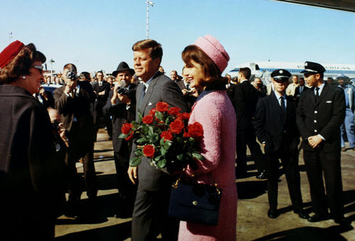 President John F. Kennedy and first lady Jacqueline Bouvier Kennedy arrive at Love Field in Dallas, Texas.