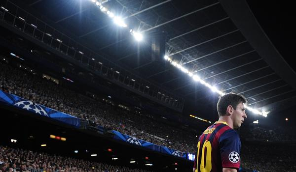 Barcelona's Lionel Messi waits to take a corner kick during a UEFA Champions league football match against AC Milan Nov. 6.