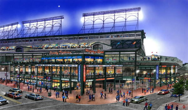 A rendering of a renovated Wrigley Field.