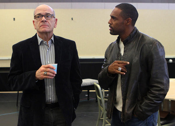 "Actors Robert Picardo and Jason George, both jurors in the play ""Twelve Angry Men"" rehearse a scene at the Pasadena Playhouse rehearsal studio in Pasadena on Tuesday, Oct. 29, 2013."