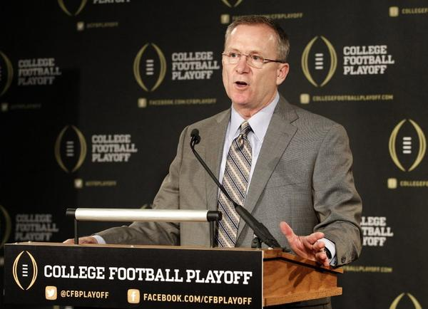 Jeff Long is the chairman of the 13-member college football playoff committee.