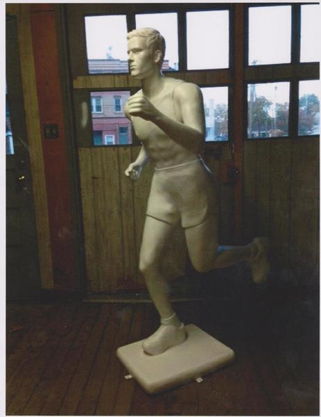The prototype figure for Manchester's Runners ART Parade. An artist is working on the figure, which is to be unveiled at the Manchester Road Race press conference on Nov. 21.