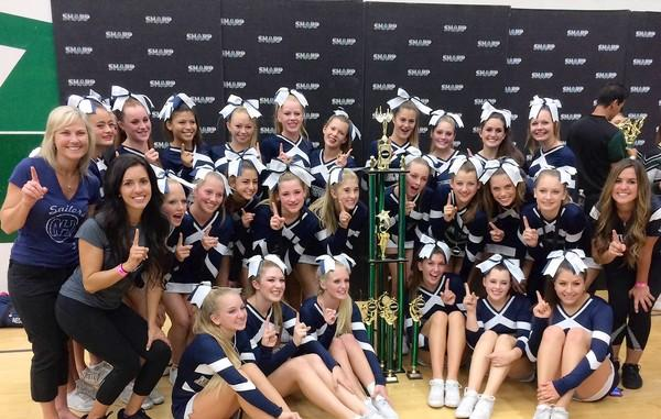 The Newport Harbor High School Cheer Team at the SHARP International Competition at Costa Mesa High School on Saturday.