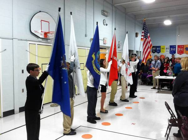 Students from Century, Jerling and Orland Junior High schools present the colors during the Nov. 11 Orland School District 135 board meeting, which was held on Veterans Day.