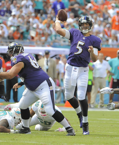 Joe Flacco played well despite facing constant pressure. He completed 19 of 32 passes for 269 yards. He will be sore Monday morning, but Flacco carried this team, particularly in the first half when the rest of the offense struggled. <b>Grade: B.</b>