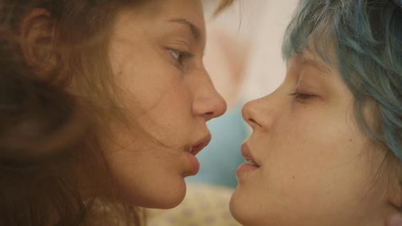 "In the French lesbian love story ""Blue Is the Warmest Color,"" 15-year-old Adele has plans to become a teacher, but her life changes dramatically when she meets Emma, a blue-haired art student at a nearby college who initiates a romance.<br><br>"