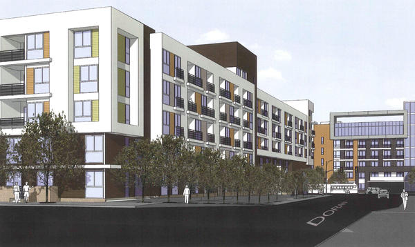 A rendering of 526-540 N. Central, an east view along Doran St.