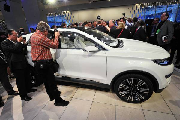 Journalists get their first look at the Lincoln MKC in Detroit. Base models will have a 2.0-liter power plant with 240 horsepower and 270 pound-feet of torque.