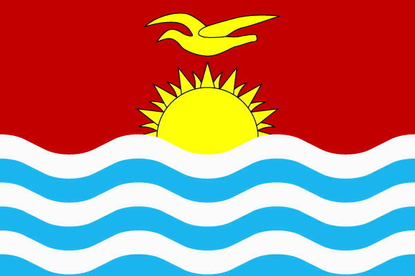Kiribati is a remote nation of 33 atolls in the equatorial Pacific scattered over an area nearly two-thirds as large as the continental United States. Above: The Kiribati flag.