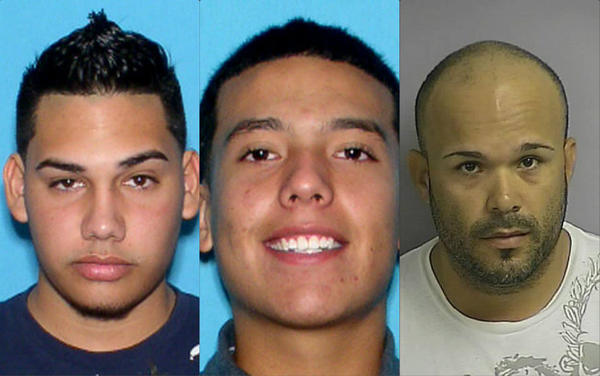 From left, Efren Flores-Sanchez, 20, William Posada, 20, and Jose Molina-Cruz, 35, are accused of street racing.