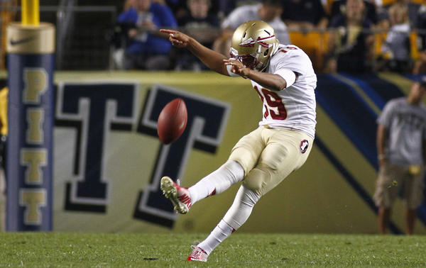Roberto Aguayo of the Florida State Seminoles plays against the Pittsburgh Panthers during the game on Sept. 2, 2013 at Heinz Field in Pittsburgh, Penn.