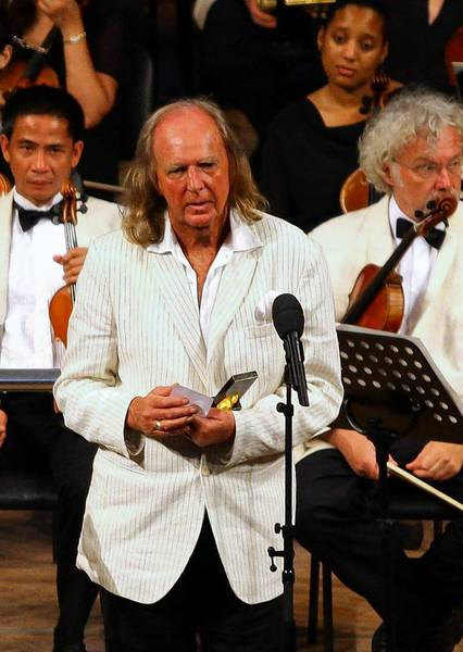 English composer John Tavener receives a Lifetime Achievement Award in the 35th International Istanbul Music Festival in 2007. Tavener died at 69 on Tuesday.