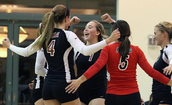 Flintridge Sacred Heart's Sophia Coffey celebrates with her teammates after the Tologs defeated Ayala, 3-1, in a first-round CIF Southern Section Division I-A volleyball match at FSHA on Tuesday. (Tim Berger/Staff Photographer)