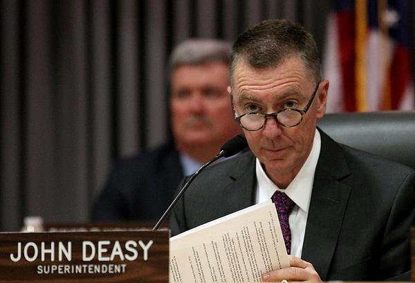 Tuesday's L.A. Unified board meeting marked the first public appearance of Supt. John Deasy in an iPad debate since the contract process began. He had stayed in the background, on the advice of attorneys, because he owned Apple stock. But he sold his shares before Tuesdays meeting, according to the district.