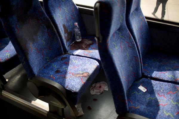 Blood stains on a bus seat show where an Israeli soldier was stabbed to death.