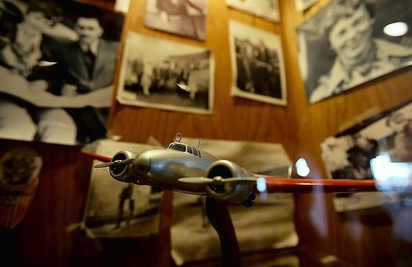 A display that features the exploits of aviatrix Amelia Earhart showcases some of the memorabilia at the Proud Bird restaurant in Los Angeles. Located beside the southernmost runway of LAX, the landmark eatery is set to shut its doors next month.
