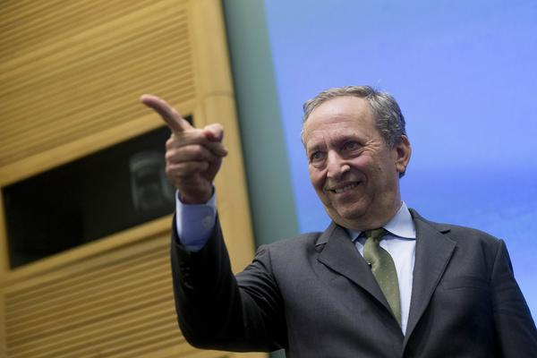 """""""I think Janet Yellen's going to a great job at the Fed,"""" Former Treasury Secretary Lawrence H. Summers told CNBC. Above, Summers last week arriving at a panel discussion at the International Monetary Fund's headquarters in Washington."""