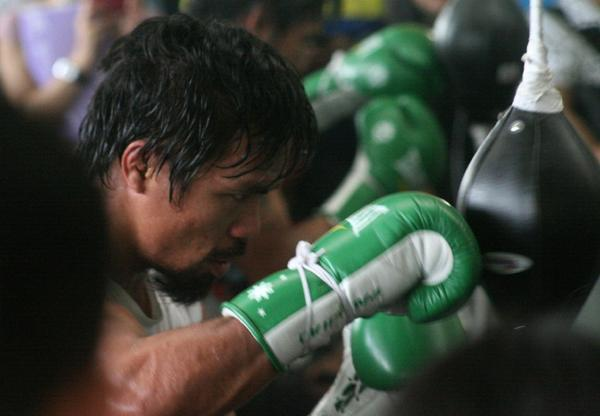 Manny Pacquiao has been training hard for his upcoming fight against Brandon Rios.