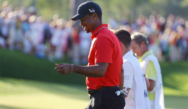 "Tiger Woods, shown at the Turkish Open on Sunday, says his Stanford teammates used to call him ""Urkel."""