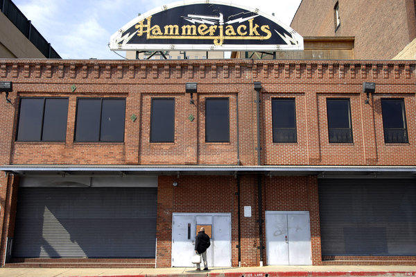 An exterior shot of the last version of Hammerjacks on Guilford Avenue. It closed in 2006, and was replaced by the now-closed Bourbon Street in 2008.