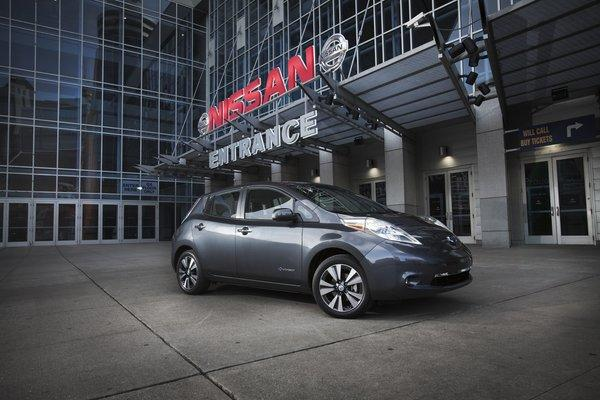 The battery-electric Nissan Leaf is one of the two major types of plug-in vehicles.